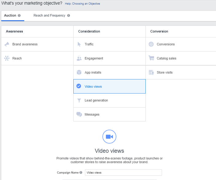 Facebook video marketing objectives