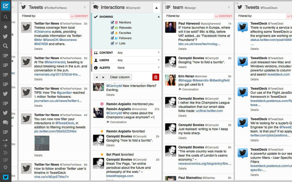 Social media scheduling tools - TweetDeck interactions