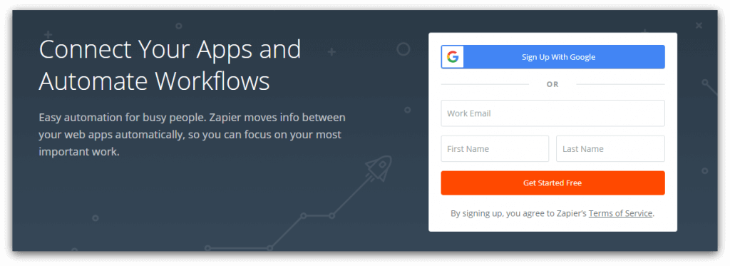 zapier homepage screenshot
