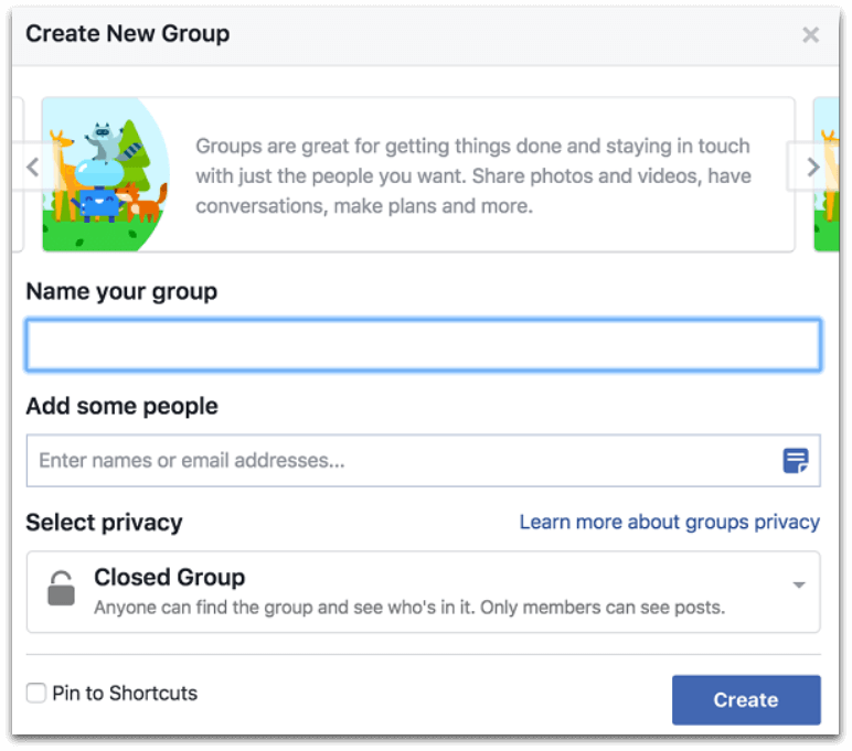 example of how to create a new facebook group