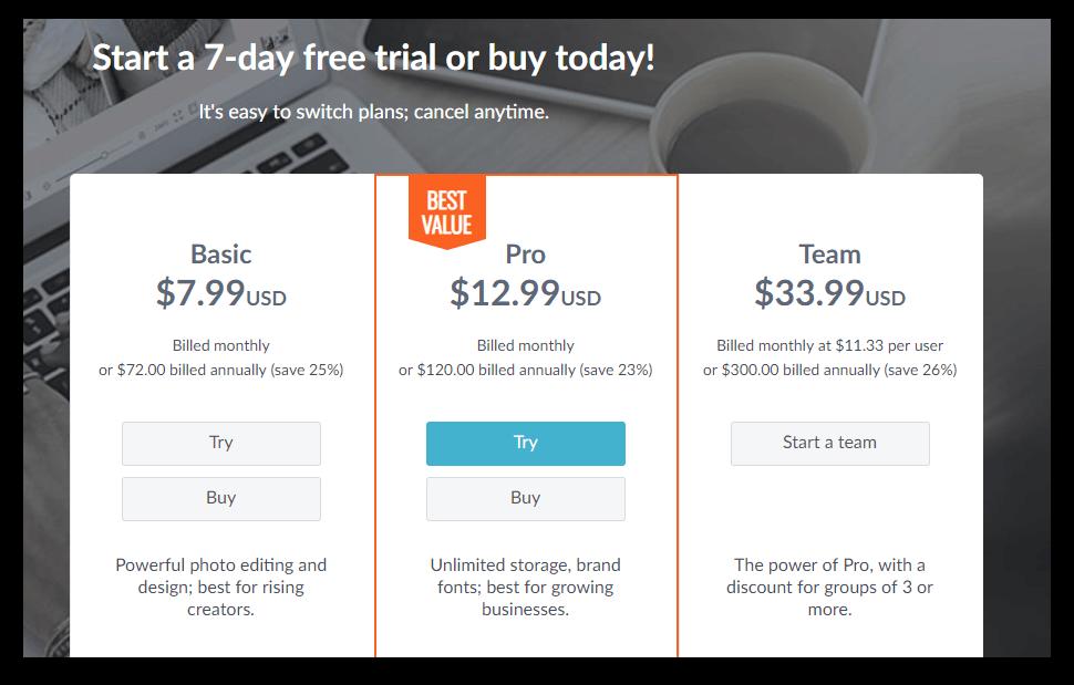 picmonkey price page screenshot
