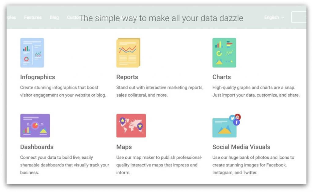 screenshot of a social media manager's tool: infogram.com