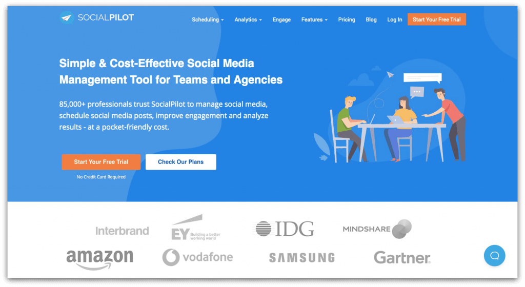 screenshot of one of the hootsuite alternatives: socialpilot