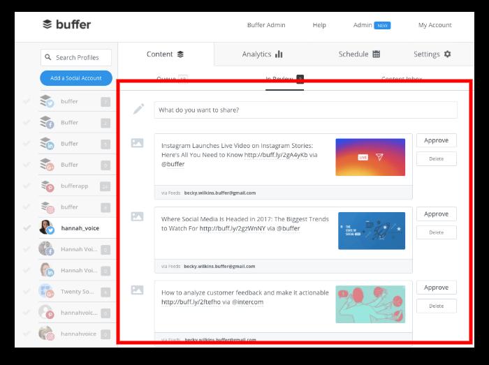 Hootsuite vs Buffer: Buffer's dashoboard