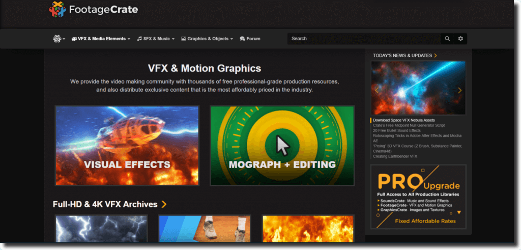 Homepage of Footage Crate