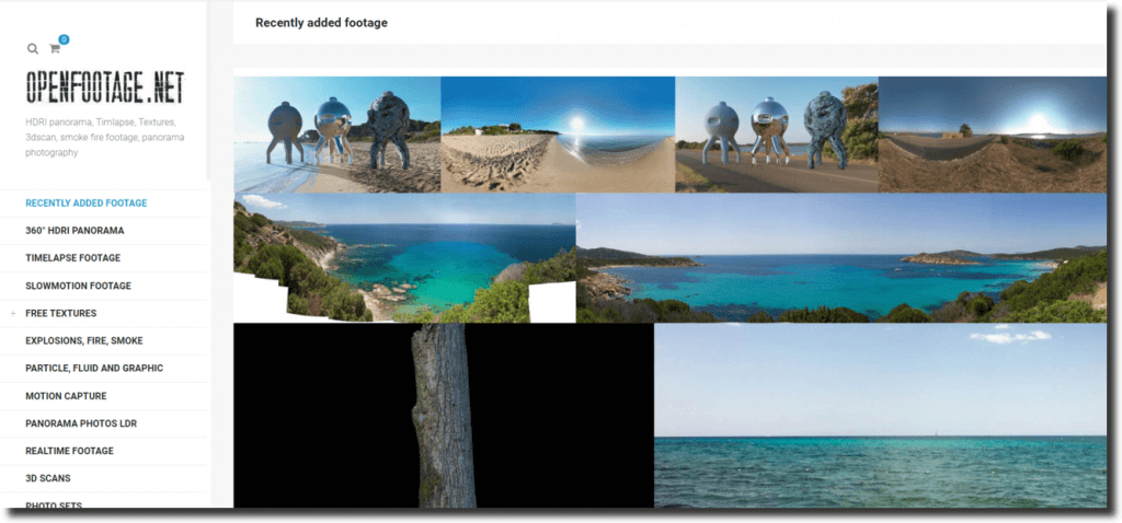 Homepage screenshot of OpenFootage